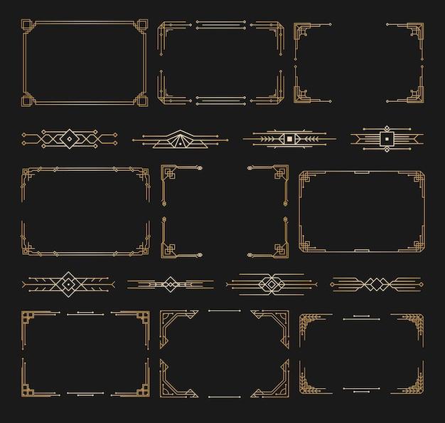 Wzory Ozdoby W Stylu Art Deco Kaligrafia Dzielniki Strony Vintage Design Kwiatowy Elegancki Wystrój Premium Wektorów
