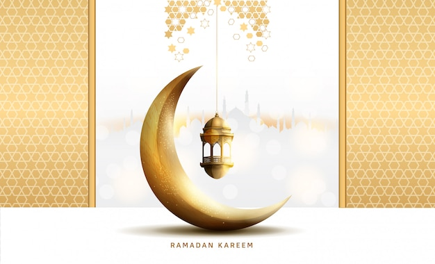 Wzory ramadan kareem na święto ramadan premium ze złotym księżycem i latarnią na białym i złotym tle