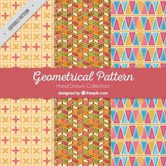 Wzory rysowane ręcznie z geometrycznych kształtów