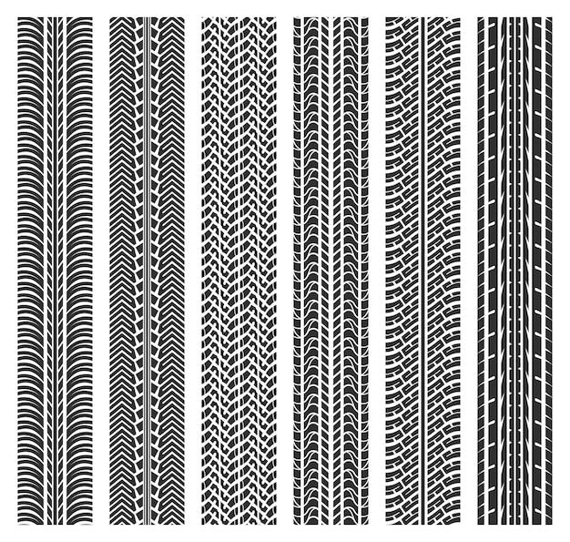 Wzory śladów bieżnika opon.