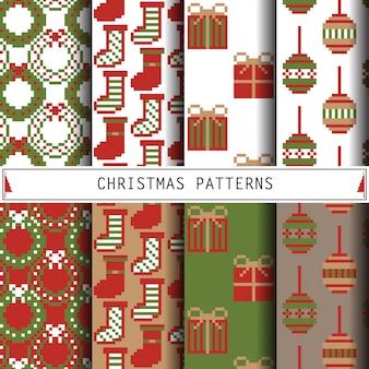 Wzory świąteczne zestaw tła ferie zimowe.