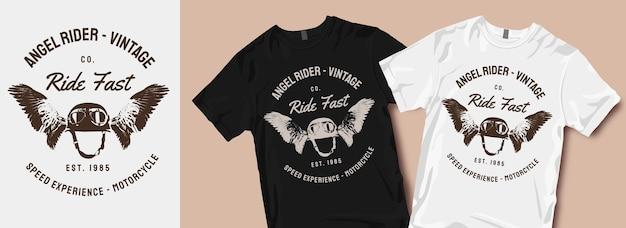 Wzory t-shirtów motocyklowych angel rider
