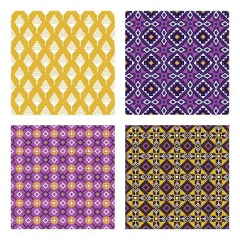 Wzory w kolorze etnicznym. kolorowy wzór meksykański lub indyjski bezszwowe zestaw z ilustracji wektorowych stylizowane ludowe szopki