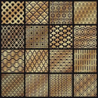 Wzory w stylu art deco. ozdobne złote linie, kanciasta ramka i zestaw złotych sztuk z 1920 roku