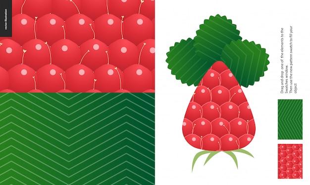 Wzory żywności, owoce, malina