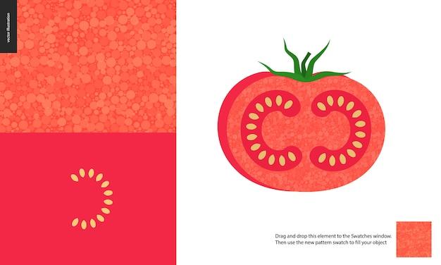 Wzory żywności, owoce warzyw, pomidor