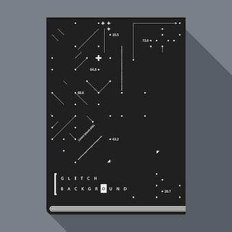 Wzorzec książki glitch / szablon projektu plakatu z prostymi elementami geometrycznymi.