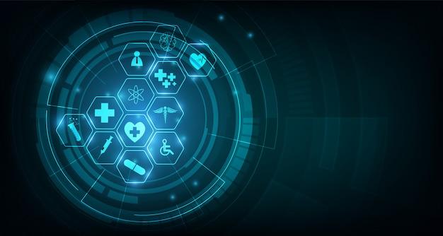 Wzorzec opieki zdrowotnej ikona medycznych innowacji koncepcja tło