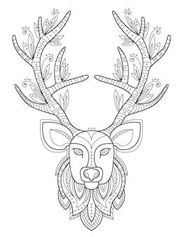 Wzorzysta głowa jelenia z dużymi porożami