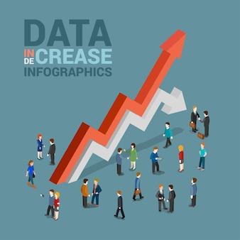 Wzrost danych 3-zmniejszenie infografiki szablon koncepcja płaska sieć 3d