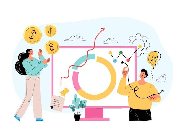 Wzrost dochodów z obrotu giełdowego roi inwestycje pieniądze dochód wzrost koncepcja roi wektor płaski na białym tle ilustracja w nowoczesnym stylu