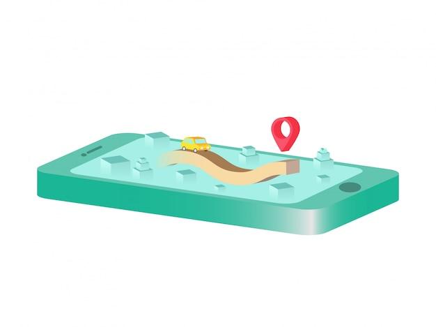 Wzrost drogi w 3d z telefonu komórkowego. izometryczny koncepcja gród.