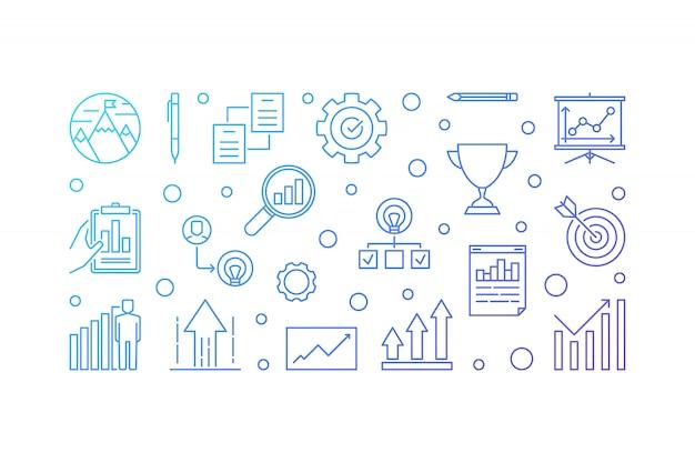 Wzrost firmy poziomej wektor zarys ilustracja