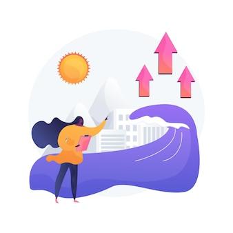 Wzrost poziomu morza streszczenie ilustracja koncepcja. raport o wzroście oceanów na świecie, globalne dane dotyczące poziomu mórz, przyczyna podnoszenia się wody, konsekwencje powodzi, topnienie lodu, problem środowiskowy