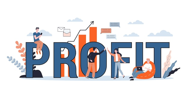 Wzrost przychodów. idea wzrostu kapitału i finansowania inwestycji. zysk biznesowy. ilustracja