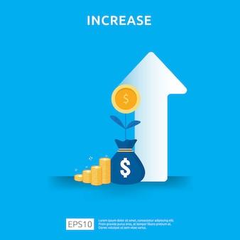 Wzrost stopy wynagrodzenia. przychód z marży graficznej. finansowanie wydajności zwrotu z inwestycji roi z elementem strzałki. płaski styl