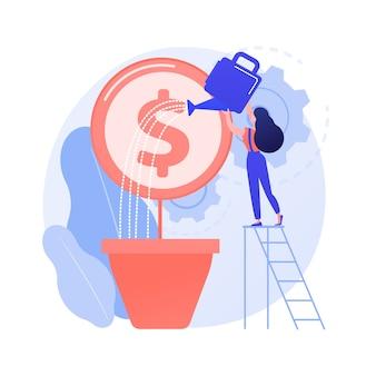 Wzrost zysków, zbiórka pieniędzy. bizneswoman podlewania drzewa pieniędzy. wzrost dochodów, rosnące dochody, kreatywny element projektu pomysł alfabetyzacji ekonomicznej.
