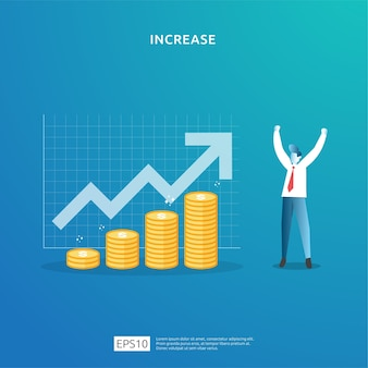 Wzrost zysku biznesowego, sprzedaż rośnie marża z symbolem dolara. ilustracja koncepcja wzrostu wynagrodzenia dochodu z postaciami ludzi i strzałkami. wyniki finansowe zwrotu z inwestycji roi
