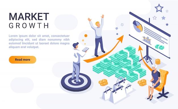Wzrostowy rynek strony docelowej sztandar z isometric ilustracją