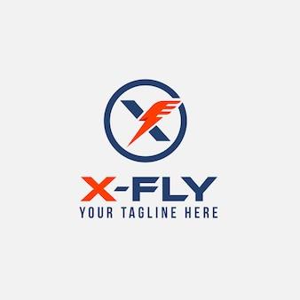 X letter fly logo darmowy szablon
