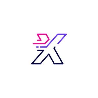 X litera kreska małe litery technika cyfrowa szybka dostawa ruch linia zarys monolinia niebieskie logo wektor ikona ilustracja