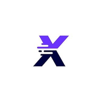 X litera kreska małe litery technika cyfrowa szybka dostawa ruch niebieski logo wektor ikona ilustracja
