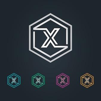 X logo sześciokąta