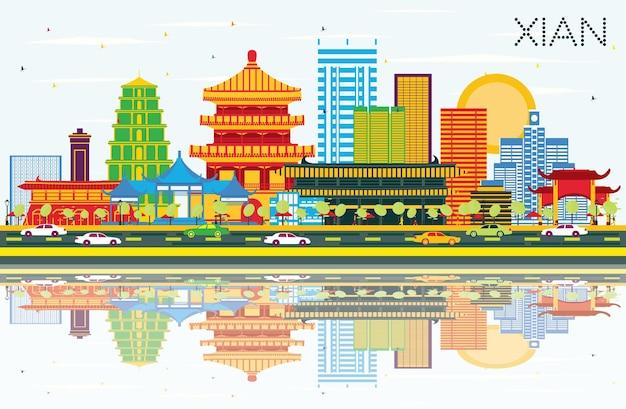 Xian china skyline z kolorowymi budynkami, błękitnym niebem i odbiciami. ilustracja wektorowa. podróże służbowe i koncepcja turystyki z zabytkową architekturą. xian gród z zabytkami.