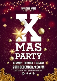 Xmas party plakat szablon lub ulotki.