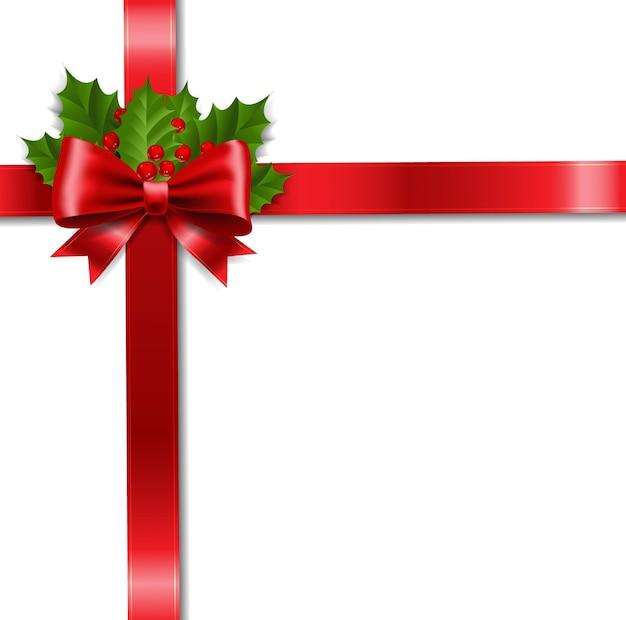 Xmas ribbon bow i holly berry białe tło