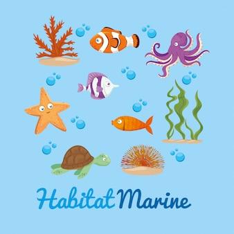 Xxx i dzikie zwierzęta morskie w oceanie, mieszkańcy świata morskiego, urocze stworzenia podwodne, podwodna fauna tropików
