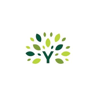 Y litera drzewo liść natura znak zielony logo wektor ikona ilustracja