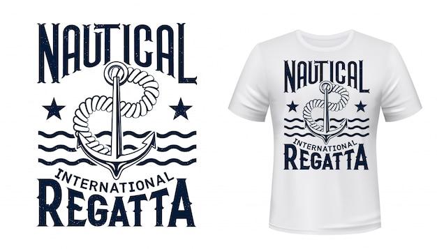 Yachting regatta t-shirt z nadrukiem z kotwicą
