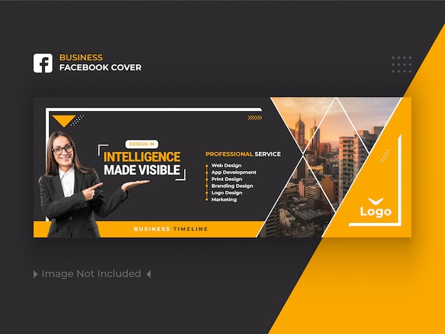 Yellow business facebook okładka banner design premium