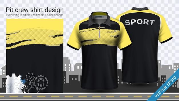 Yellow pit załogi koszule makieta szablon