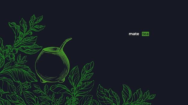 Yerba mate zielona roślina zestaw tykwa sztuka ręcznie rysowana ilustracja zdrowy tradycyjny napój herbaciany