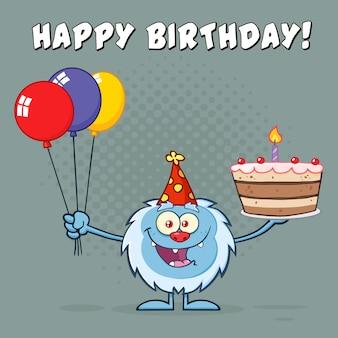 Yeti trzyma balony i tort urodzinowy