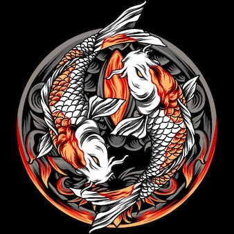 Yin yang ryba koi japonia z ornamentem
