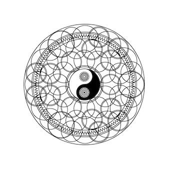 Yin yang symbol w wschodniej geometryczny wzór koło na białym tle na białe tło wektor ilustracja. tradycyjny znak mandali dla koncepcji jogi lub medytacji