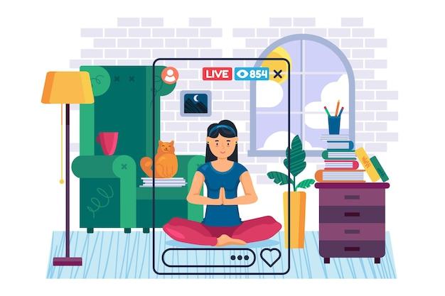 Yogi girl streamer płaski kolor postaci wektorowej