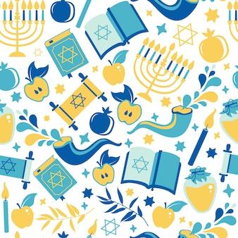 Yom kippur wzór ze świecami, jabłkami, szofarem i sybolami. tło żydowskie wakacje. powierzchnia wydruku ilustracji na białym tle.