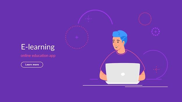 Youg człowiek pracuje z laptopem przy biurku, wpisując na klawiaturze. nowoczesna linia ilustracji wektorowych e-learningu i studentów studiujących w domu. osoby pracujące z laptopem na fioletowym tle