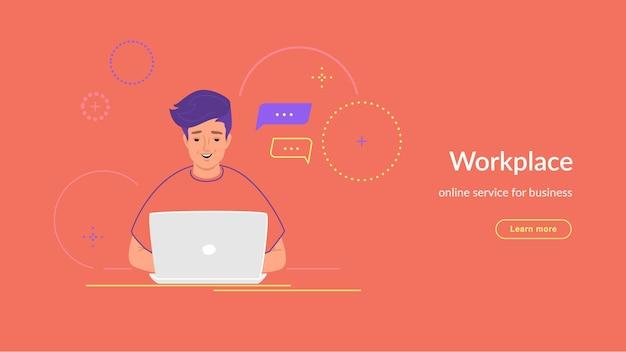 Youg człowiek pracuje z laptopem przy biurku, wpisując na klawiaturze. nowoczesna linia ilustracji wektorowych e-learningu i studentów studiujących w domu. osoby pracujące z laptopem na koralowym tle