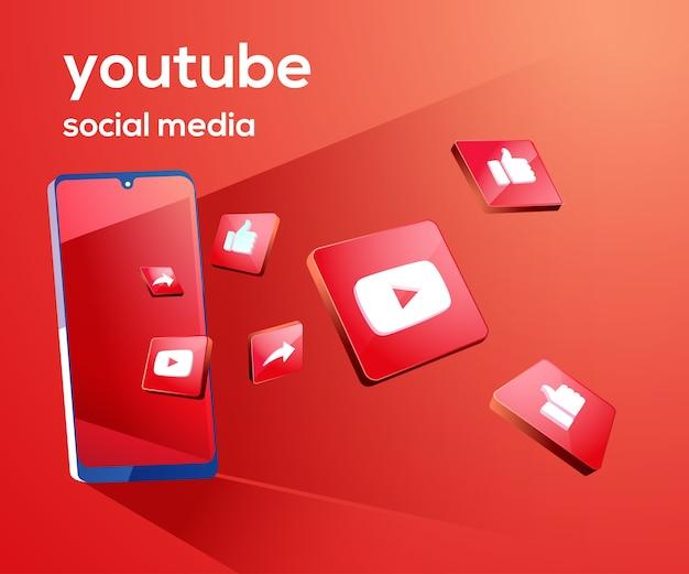 Youtube 3d ikony mediów społecznościowych z symbolem smartfona
