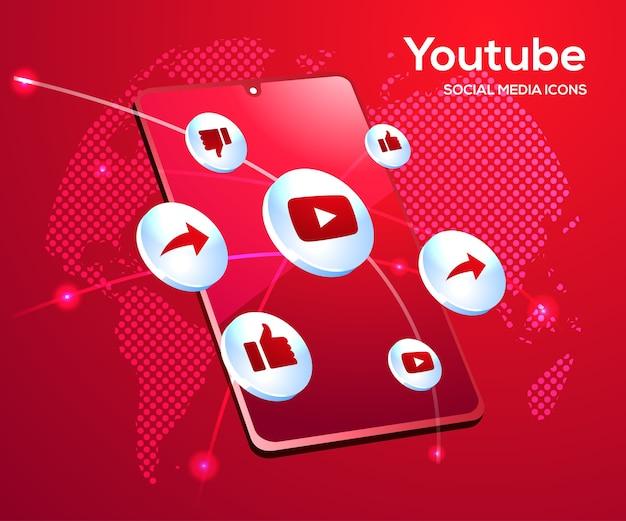 Youtube ikony mediów społecznościowych z symbolem smartfona