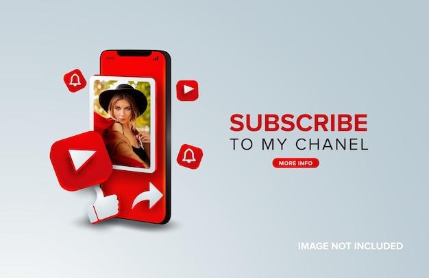 Youtube subskrybuj koncepcję mobilną
