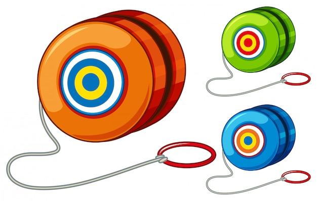 Yoyo w trzech różnych kolorach