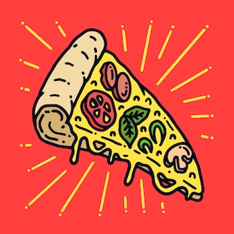 Yummy pizza old school tattoo ilustracja