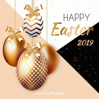 Złocisty szczęśliwy Easter dnia tło