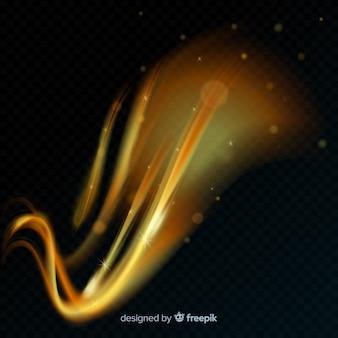 Złota świecące spiralne światło linii